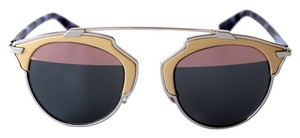 Dior New Dior So Real Genuine Leather Trim Silver Beige Metal Sunglasses