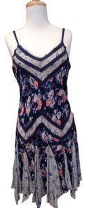 Free People short dress blue, gray, floral on Tradesy