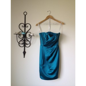 David's Bridal Teal Short Strapless Formal Bridesmaid/Mob Dress Size 8 (M)