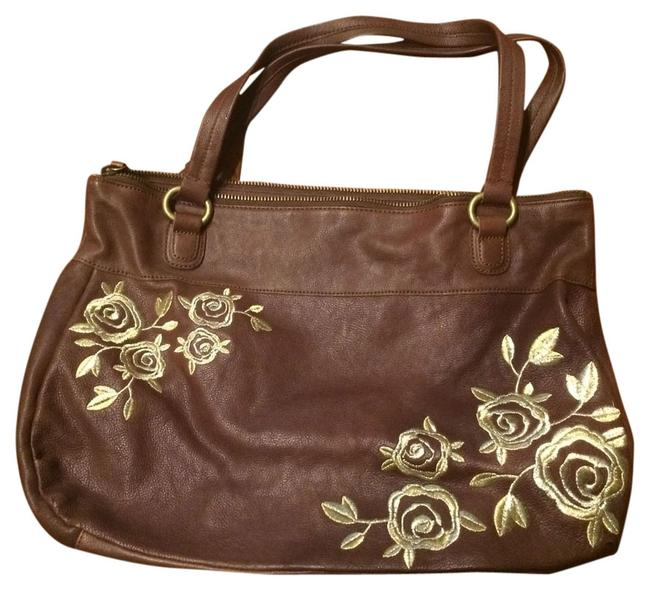 Anthropologie Bag Embroidered Brown/Gold Leather Tote Anthropologie Bag Embroidered Brown/Gold Leather Tote Image 1