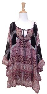 Free People short dress Black, maroon, white on Tradesy