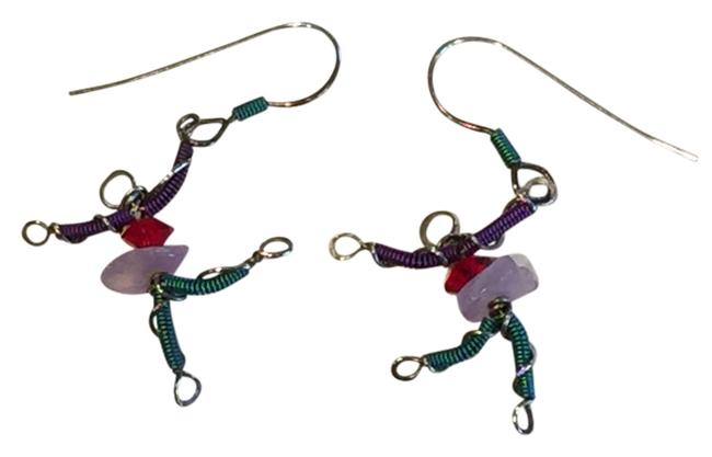 Multi-colored: Purple Teal Red Pink Artisan Niobium/Silver Crystal Dancer One-of-a-kind Earrings Multi-colored: Purple Teal Red Pink Artisan Niobium/Silver Crystal Dancer One-of-a-kind Earrings Image 1