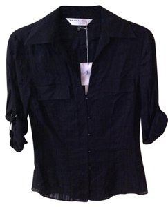 Trina Turk Roll Up Sleeves Collared Shirt Button Down Shirt Black