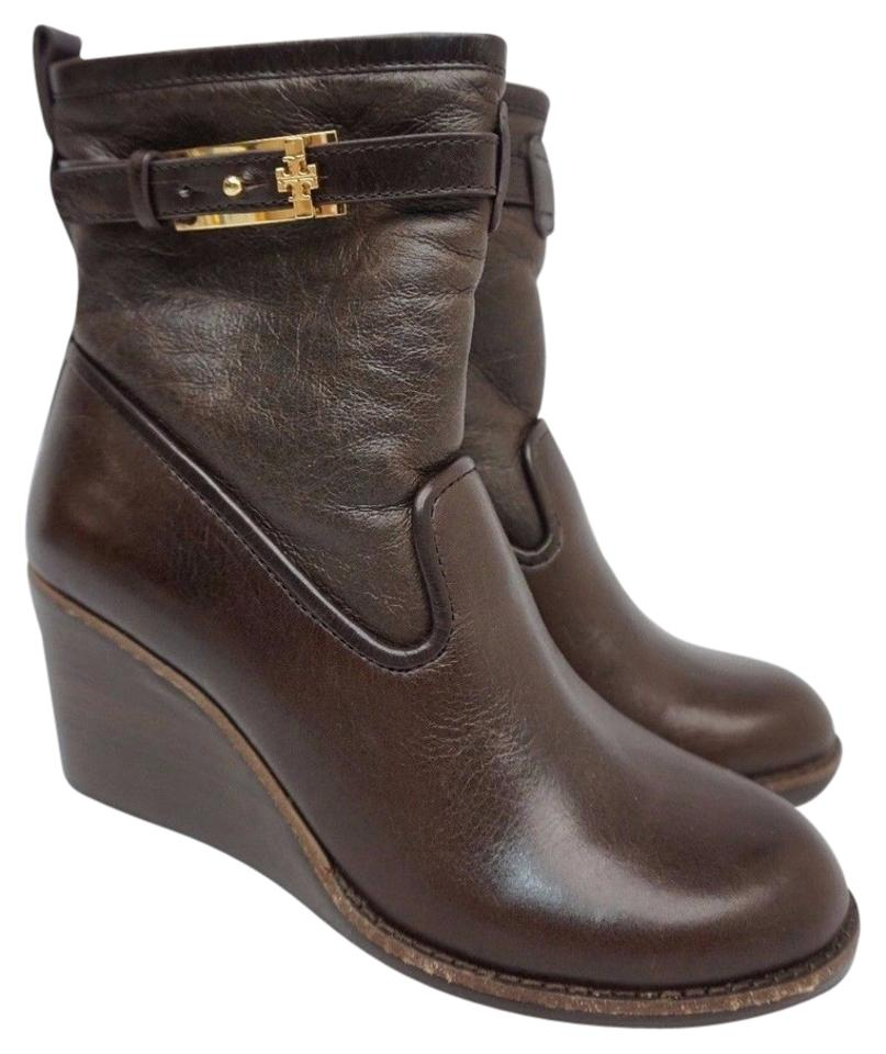 b8fe94ccb379 Tory Burch Brown Primrose Wedge Coconut Latte Leather Boots Booties ...