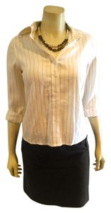 Banana Republic Size X-small Striped P731 Button Down Shirt Ivory beige