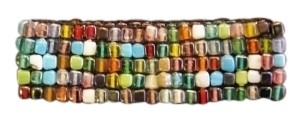 unknown 5 row glass bead bracelet w/ elastic band
