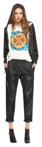 Whitney Eve Faux Leather Elastic Waist Relaxed Pants Black