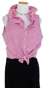 U.S. Polo Assn. Stripe Ruffle Top Red