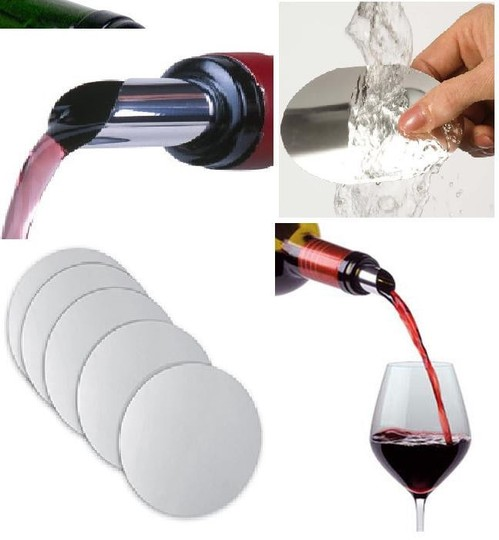 Silver / Chrome 5x Wine Pourer Stop Drop Flexible Foil Discs Portable Red White Wine Liquor Pour Flavor Barware