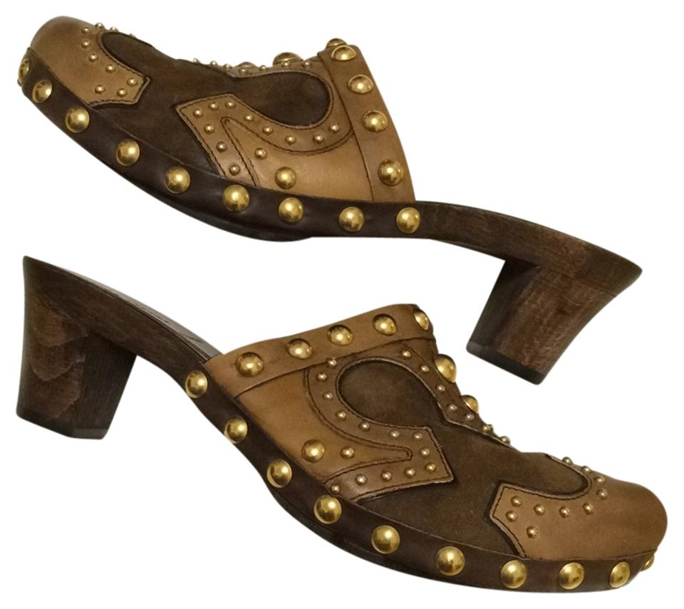 MISS Miu Miu Brown products Leather Mules/Slides High quality products Brown 0454a4