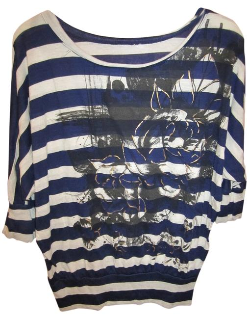 unknown Blouse Offwhite Stripe Floral Design Grey Black Gold Metallic 3/4 Angel Sleeve Banded Waist Medium Easy Care T Shirt Navy