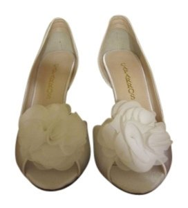 Caparros White Satin Pumps