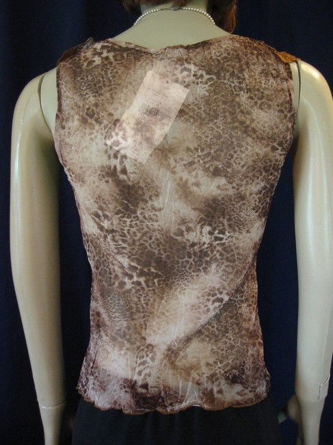 Other Ruffle Animal Print Sleeveless French Paris Top Multi Color