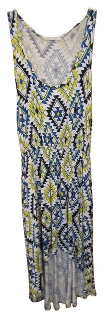 Other short dress White Tank High Low Royal Blue Bright Yellow Black Aztec Print Elastic Waist on Tradesy