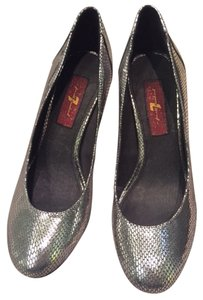 7 For All Mankind Snakeskin Metallic Chunky Heel Silver Pumps