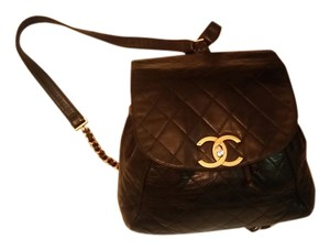 Chanel Quilted Lambskin Pack Cc Logo Turnlock Gold Backpack