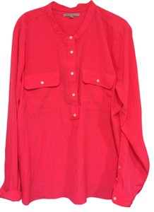Gap Casual Large Blouse Button Down Shirt Bright Pink