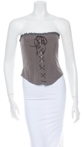 Blumarine Taupe Blue Brown Corset Top Taupe, Dusty & Brandy
