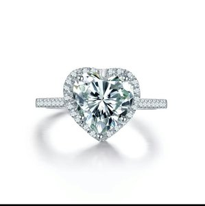 9.2.5 4 5 6 7 8 Heart Enagement 925 Silver Halo Pave Cushion Ring Band Wedding Engagement Silver Auth Ring Diamond Cz Bride