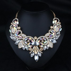 Mother Jewelry Luxury A++++ Gold Chunky Statement Crystal Necklace Chain Jewelry Wedding Prom Wedding Bridal Bridesmaid