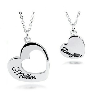 Mother Daughter Heart Puzzle Break Pieces 2 Set Necklace Silver Chain Pendant Jewelry Wedding Bridal Statement