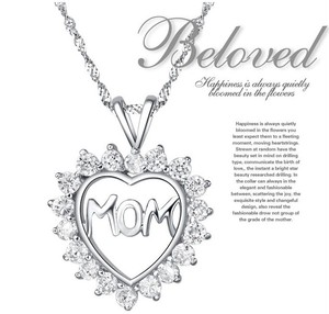 Mother Daughter Cz Diamond Heart Puzzle Mom Letter Words Necklace Silver Chain Pendant Jewelry Wedding Bridal Statement