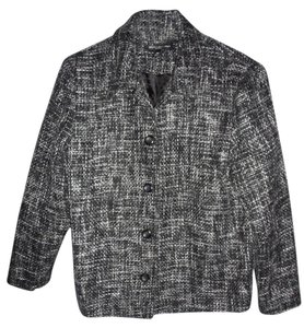 Briggs Black & White Checked Wool Blend Career Blazer SIZE MEDIUM PETITES