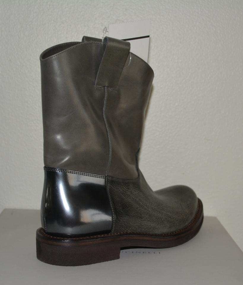 Biker Gray Western Brunello Booties 37 Cucinelli Boots Eu Leather qgpxTwF