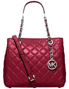 Michael Kors New Leather Quilted Red Tote in Cherry/Silver