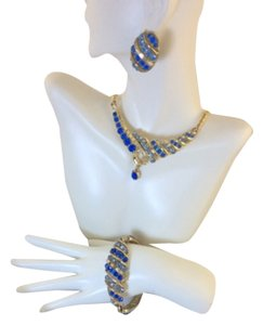 Albert Weiss SET : lNecklace, earrings, bracelet Blue Swarovski Rhinestones
