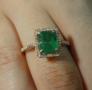 1.86ct LOVELY NATURAL UNTREATED EMERALD & DIAMOND 10k ROSE GOLD ENGAGEMENT RING