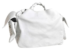 Bottega Veneta Braided Handle Tote in White