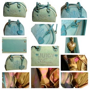 Juicy Couture Juicy Angel Has Sequence Letters Zipper Pull Has Written On It The Inside Pockets Has Shop & Hello Written On It. Satchel in Blue
