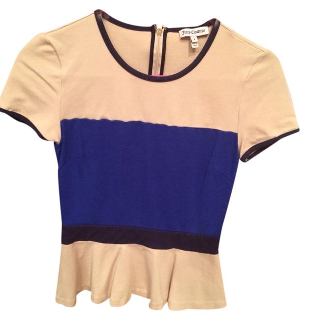 Juicy Couture Cream Black and Blue Peplum Blouse Size 2 (XS) Image 1