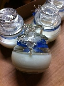 Blue Candle with Ribbon and Flower Wedding Favors