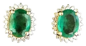 Other 3.15CT NATURAL UNTREATED EMERALD&DIAMOND 14k GOLD EARRINGS