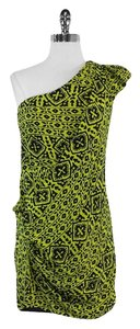 Nanette Lepore short dress Black Green One Shoulder Silk on Tradesy