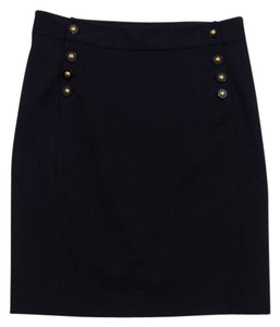 Tory Burch Black Cotton Blend Pencil Skirt