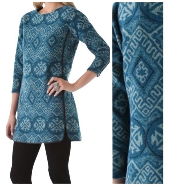 Preload https://item4.tradesy.com/images/rebecca-taylor-teal-beige-aztec-tunic-workoffice-dress-size-10-m-1132263-0-0.jpg?width=400&height=650