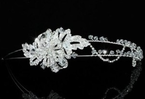 Silver Stylish Swarovski Crystal Floral Side Accented Headband Tiara