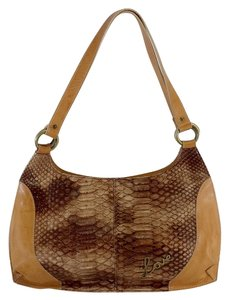Moschino Tan Brown Leather Snakeskin Shoulder Bag