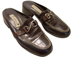 Brighton Slip Made In Italy Rubber Soles Leather Womens BLACK AND BROWN WITH ORNAMENT ON THE TOP Mules