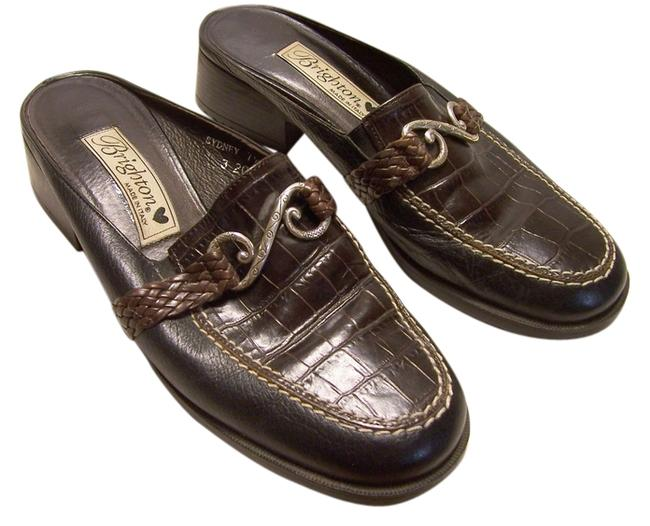 Item - Black and Brown with Ornament On The Top Sydney Mules/Slides Size US 7.5 Regular (M, B)