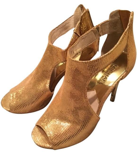 Item - Gold Peep-toe Bootie Formal Shoes Size US 6 Regular (M, B)
