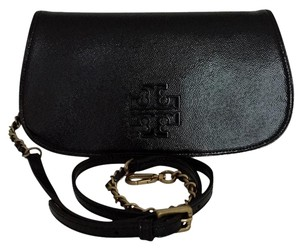 Tory Burch Patent Leather Chain Strap Crossbody Strap Black Clutch