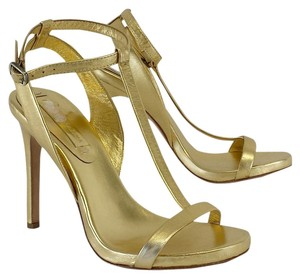 BCBGMAXAZRIA Gold Leather T-strap Heels Sandals