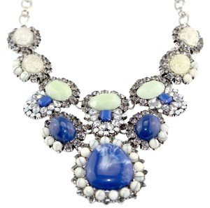 Blue Green Bib Necklace Silver Tone Chunky J1891