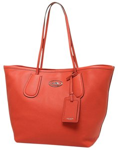 Coach 33581 Coral Embossed Textured Tote in Orange
