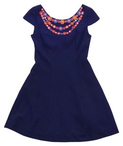 Shoshanna short dress Navy Embellished Fit Flare on Tradesy