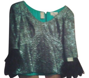 mira couture Top metallic green and silver